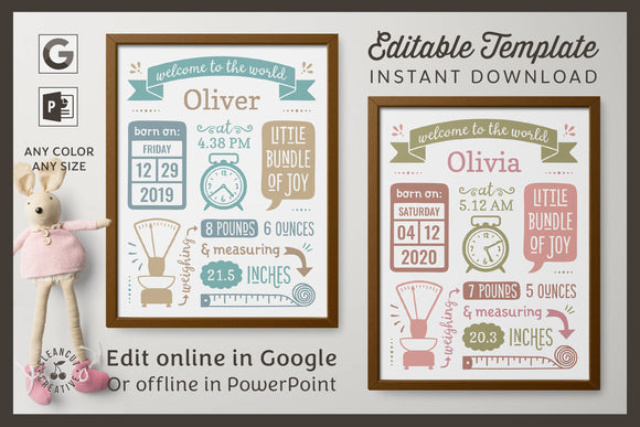 Printable BIRTH ANNOUNCEMENT template | GOOGLE edit | Baby Stats printable