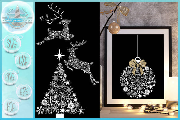 Snowflake Mandala Bundle - Christmas Tree, Reindeer, Ornament SVG