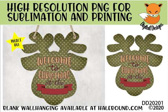 Welcome Reindeer Head Sublimation Design
