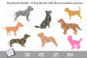 Dog Breed Bundle - 8 Dog Breed SVGs with floral mandala pattern