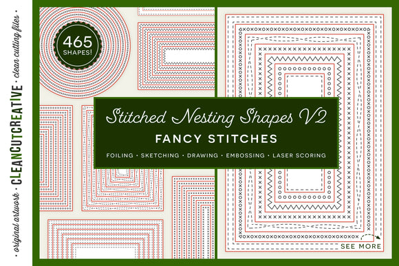 Stitched Nesting Shapes V2 Fancy Stitches | card making sketch foil quill draw score stitch edge paper craft SVG