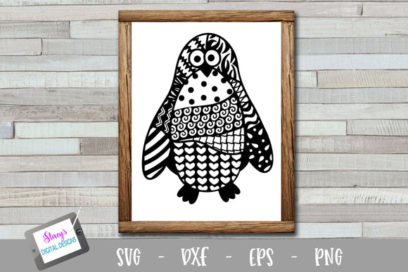 Penguin Zentangle SVG - Penguin with doodle patterns