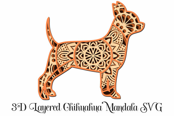 Chihuahua Mandala 4 Layered 3D Design Dog SVG