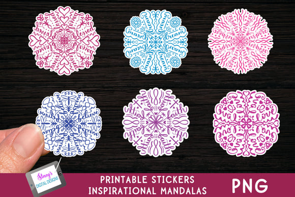 Printable Stickers - 6 Inspirational Mandala Stickers