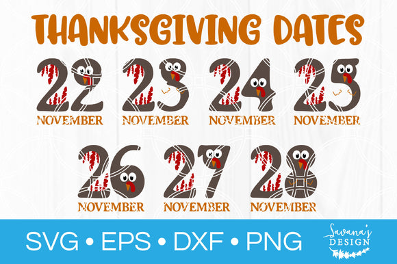 Thanksgiving Date SVG Bundle