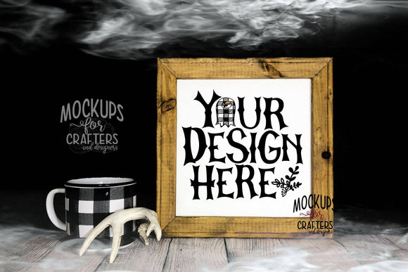 Reverse Canvas Mock-Up, Halloween, Spooky, Buffalo Plaid, Mugs