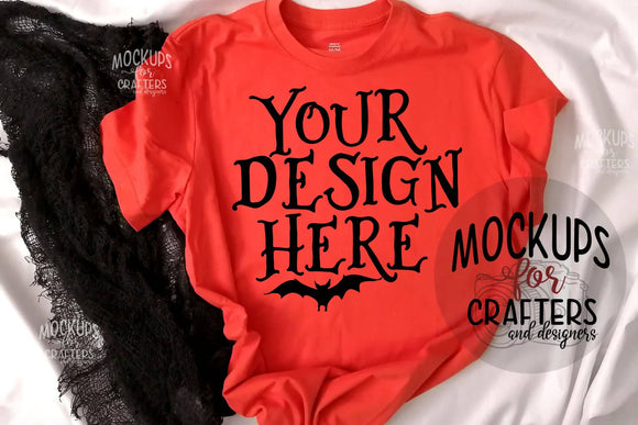 Orange T-Shirt Mock-Up - Halloween theme