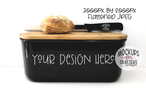 Bread box, black, MOCK-UP