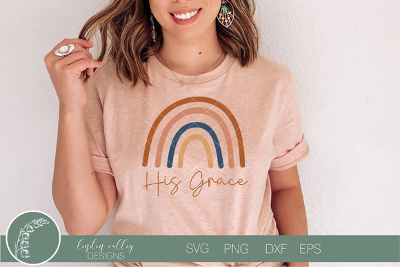 His Grace Rainbow SVG|Boho Scripture SVG