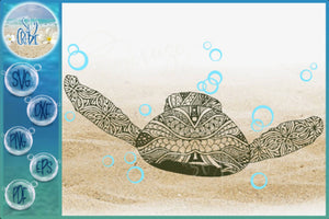 Sea Turtle Mandala Zentangle Swimming with Bubbles Back View SVG