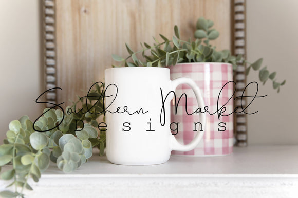 COFFEE MUG CUP SPRING OR VALENTINE'S DIGITAL MOCK UP STOCK PHOTOGRAPHY