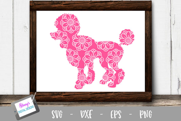 Dog SVG - Poodle with floral mandala pattern