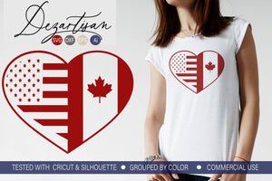 Canadian American Heart SVG | DXF Cut File