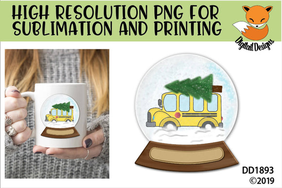 School Bus Driver Christmas Snow Globe Sublimation PNG