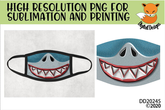 Shark Face Teeth Mask Sublimation Design