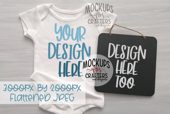 Baby Bodysuit & Hanging Sign DUO Mock-Up