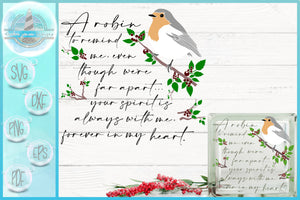 A Robin To Remind Me Memorial Quote Glass Block Design | A Christmas SVG