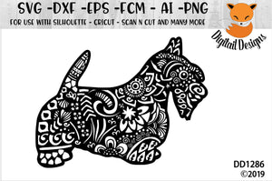 Zentangle Scottish Terrier Scottie Dog SVG