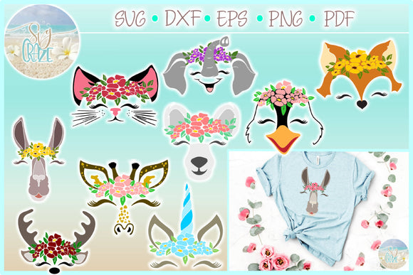 Animal Faces with Flowers Bundle SVG Dxf Eps Pdf PNG Files for Cricut