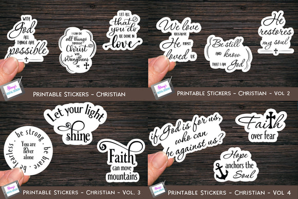 Christian Stickers Bundle - 12 Bible Verse Sticker Designs