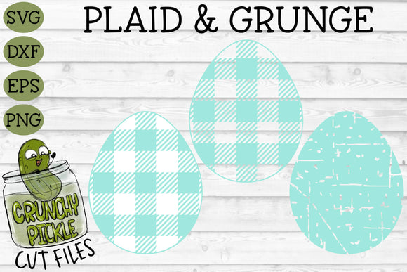 Plaid & Grunge Spring Easter Egg SVG Cut File