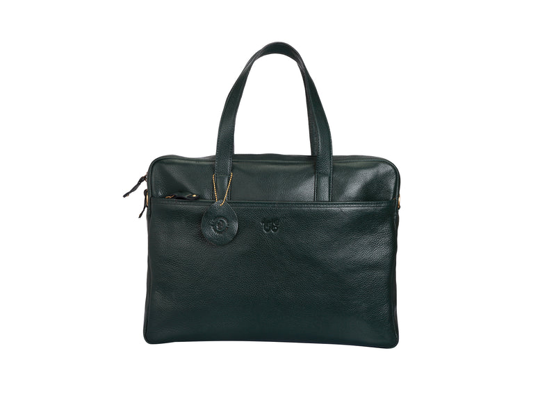 Tribe Munda - Olive Green Leather Laptop Bag for Women