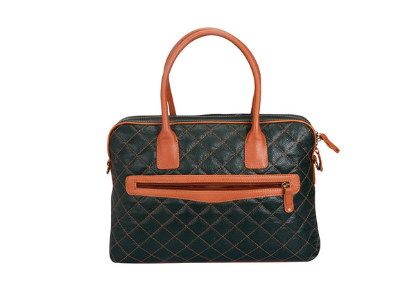 Tribe Baiga - Olive Green and Tan Quilted Leather Laptop Bag