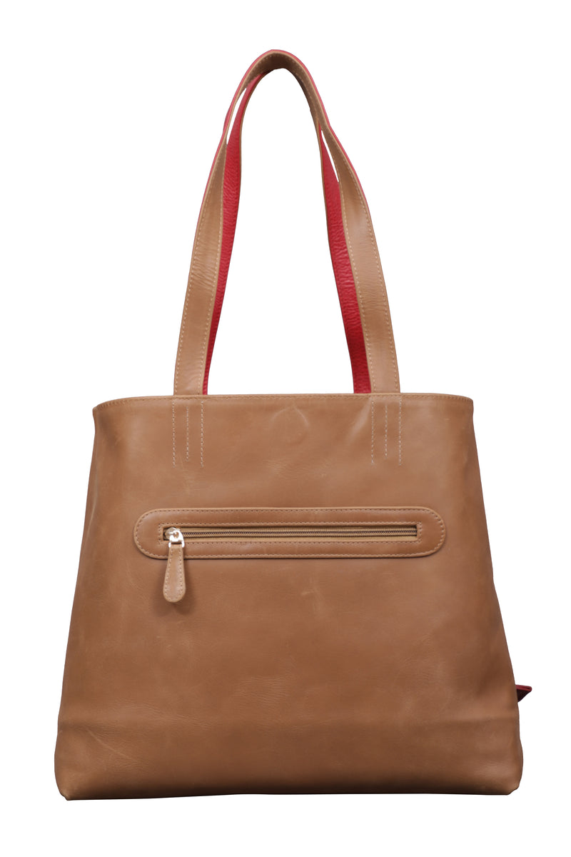 Naga Red and Tan Reversible Tote Leather Bag