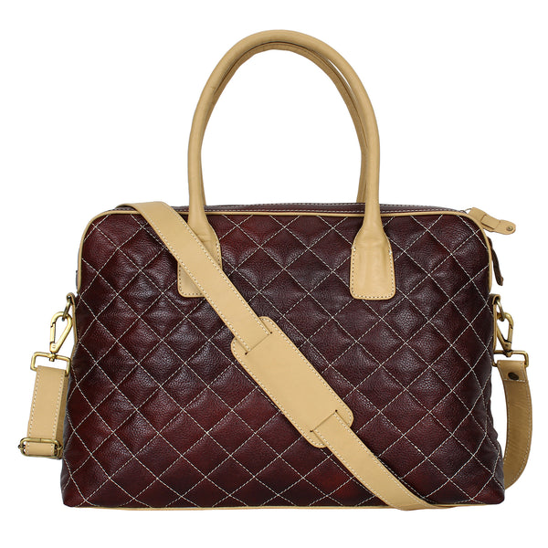 TRIBE BAIGA - Chocolate Brown and Beige Quilted Leather Laptop Bag