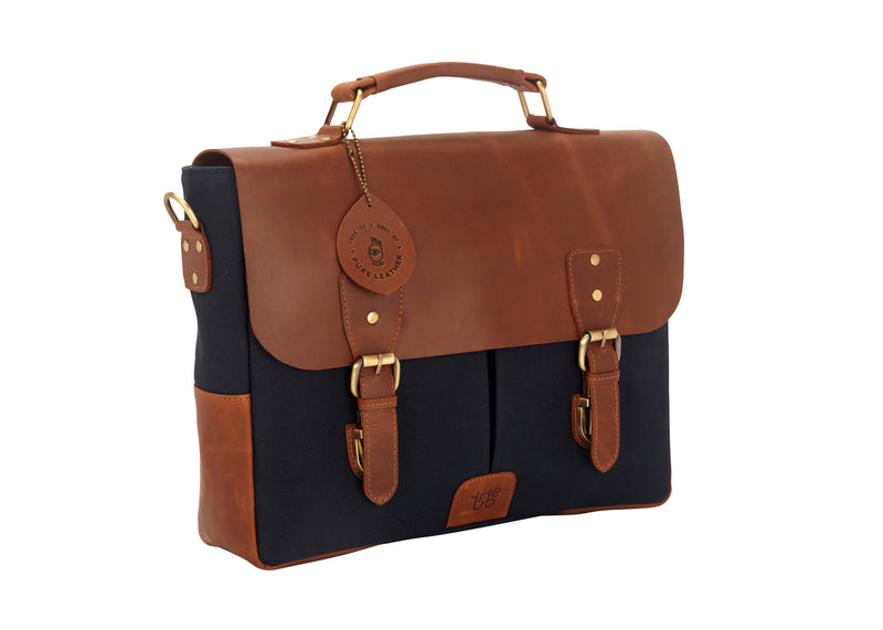 Tribe Gond - Blue Canvas and Tan Leather Messenger Laptop Bag