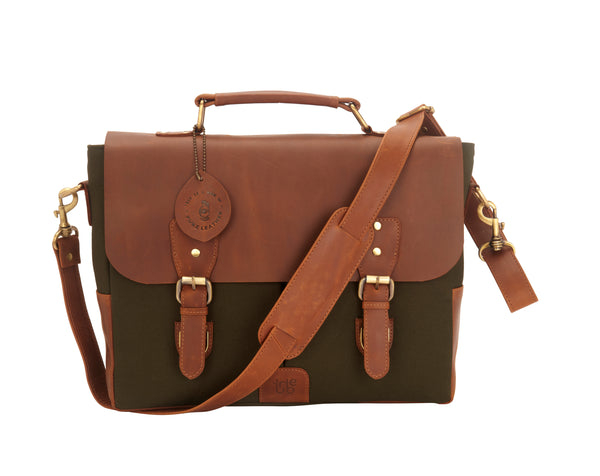 Tribe Gond - Green Canvas and Tan Leather Messenger Laptop Bag