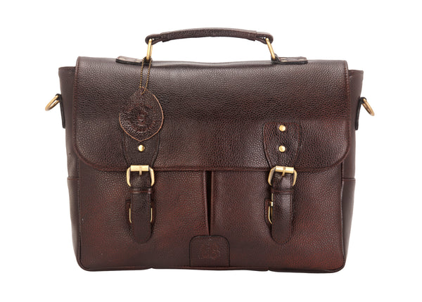 Tribe Gond - Brown Leather Messenger Laptop Bag