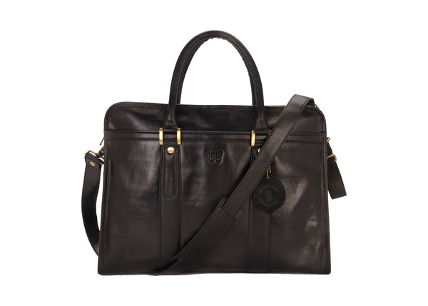 Tribe Aptani - Smooth Black Leather Unisex Laptop Bag