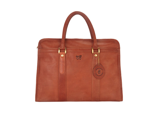 Tribe Aptani - Textured Tan Leather Unisex Laptop Bag