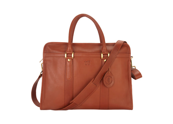 Tribe Aptani - Smooth Tan Leather Unisex Laptop Bag