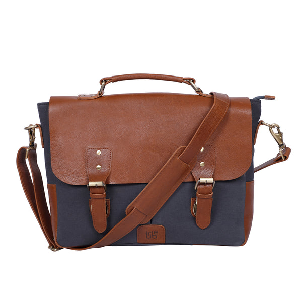 Tribe Gond - Dark Grey Canvas and Tan Leather Messenger Laptop Bag
