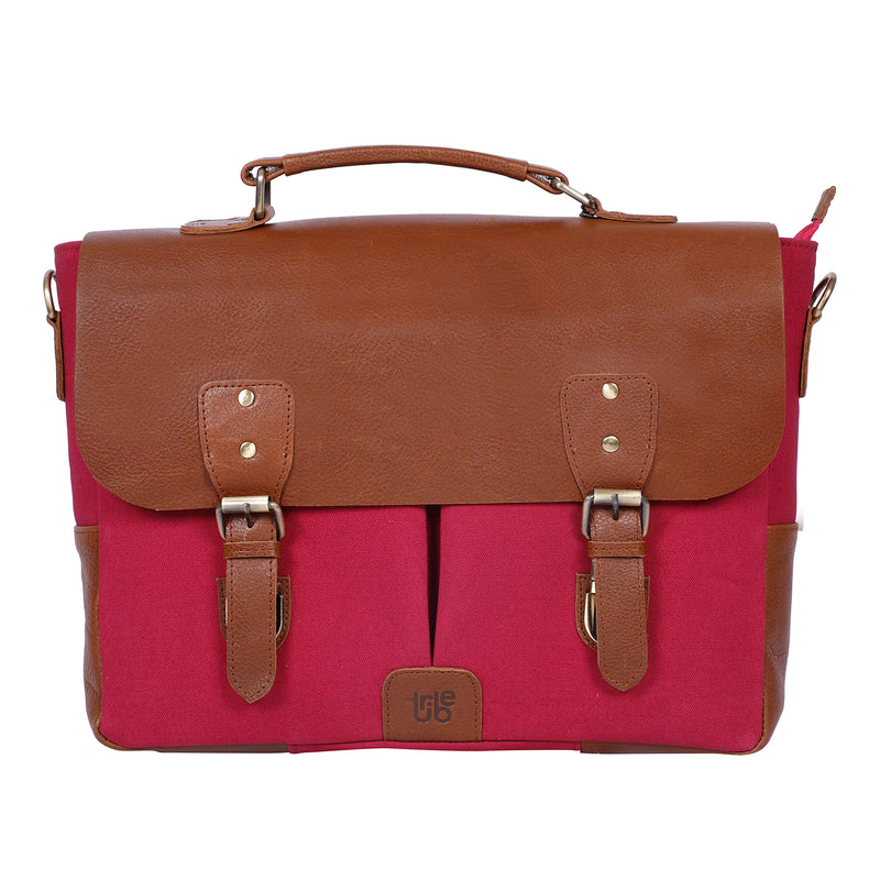 Tribe Gond - Red Canvas and Tan Leather Messenger Laptop Bag