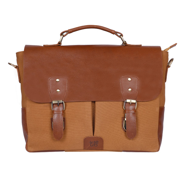 Tribe Gond - Beige Canvas and Tan Leather Messenger Laptop Bag