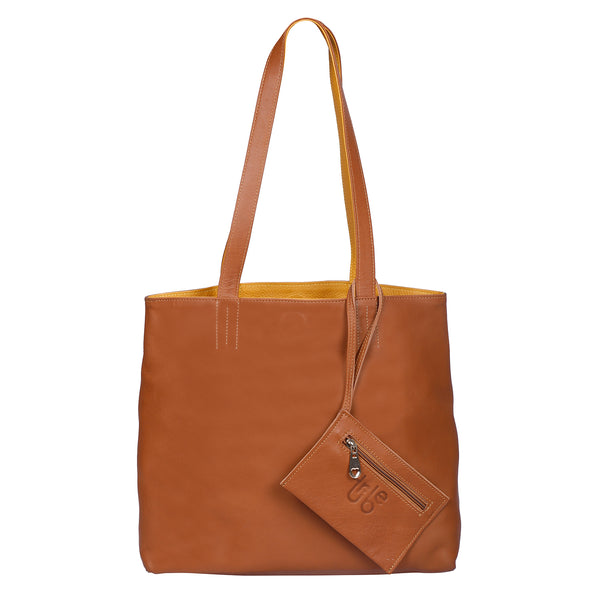 Naga Brown and Mustard Yellow Reversible Tote Leather Bag