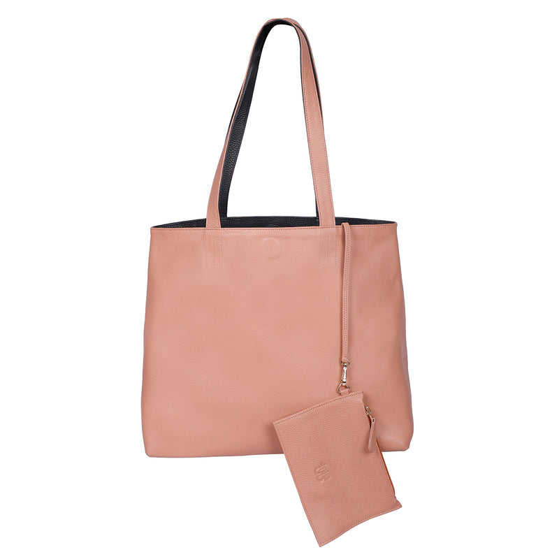 Naga - Dusty Rose Pink and Black Reversible Tote Leather Bag