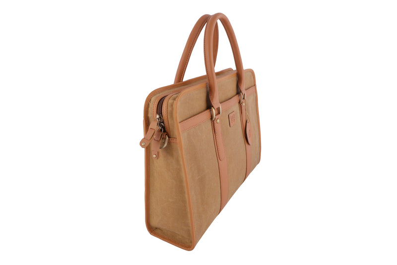 Tribe Aptani - Beige Canvas and Tan Leather Unisex Laptop Bag