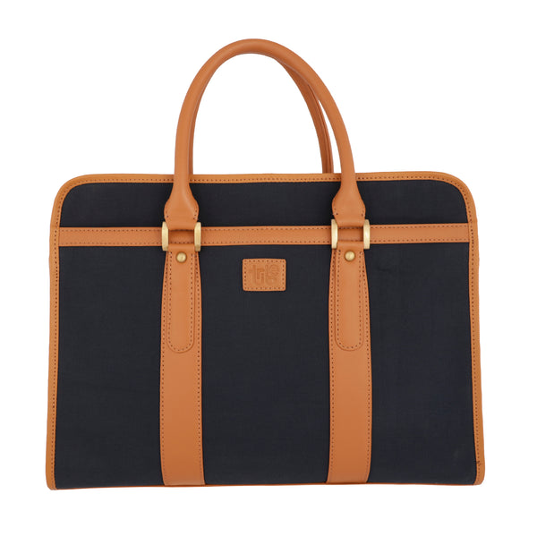 Tribe Aptani - Navy Blue Canvas and Tan Leather Unisex Laptop Bag