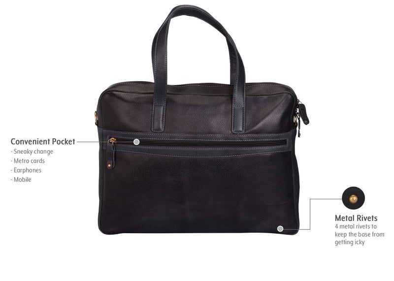 Tribe Munda - Slate Grey Leather Laptop Bag for Women