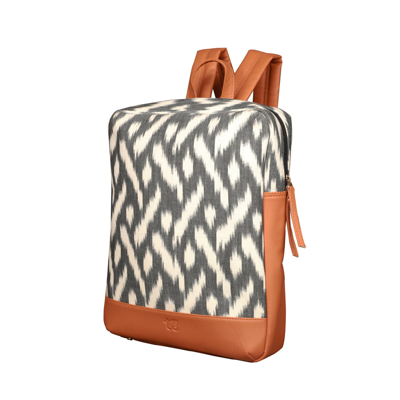 Tribe Kuki Ikat Backpack (Grey and White) with Tan faux leather detailing