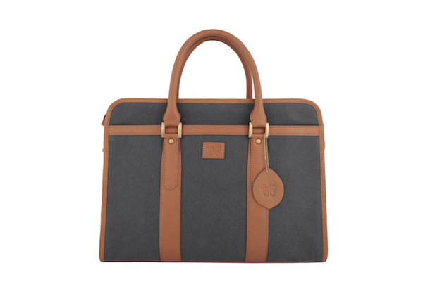Tribe Aptani - Dark Grey Canvas and Tan Leather Unisex Laptop Bag