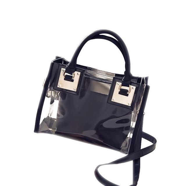 sterdio.com Beauty & Fashion Black New Fashion Women Clear Transparent Shoulder Bag Jelly Candy Summer Beach Handbag