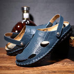 sterdio.com Beauty & Fashion Blue / 38 Handmade Leather Sandals With Open Closed Toe Seams For Men