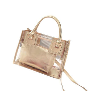 sterdio.com Beauty & Fashion Gold New Fashion Women Clear Transparent Shoulder Bag Jelly Candy Summer Beach Handbag
