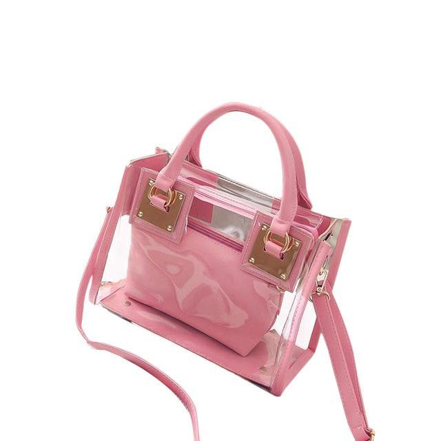 sterdio.com Beauty & Fashion Pink New Fashion Women Clear Transparent Shoulder Bag Jelly Candy Summer Beach Handbag