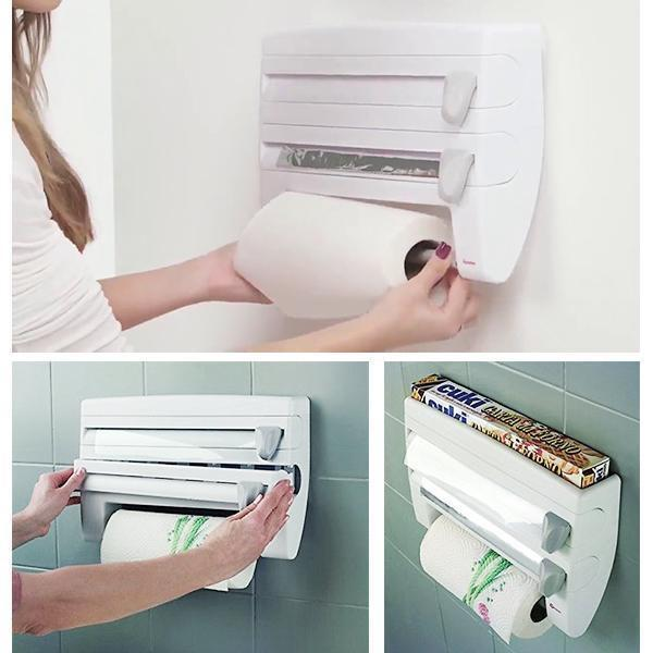 sterdio.com Home & Garden 4-in-1 Wall mounted Kitchen Roll Dispenser